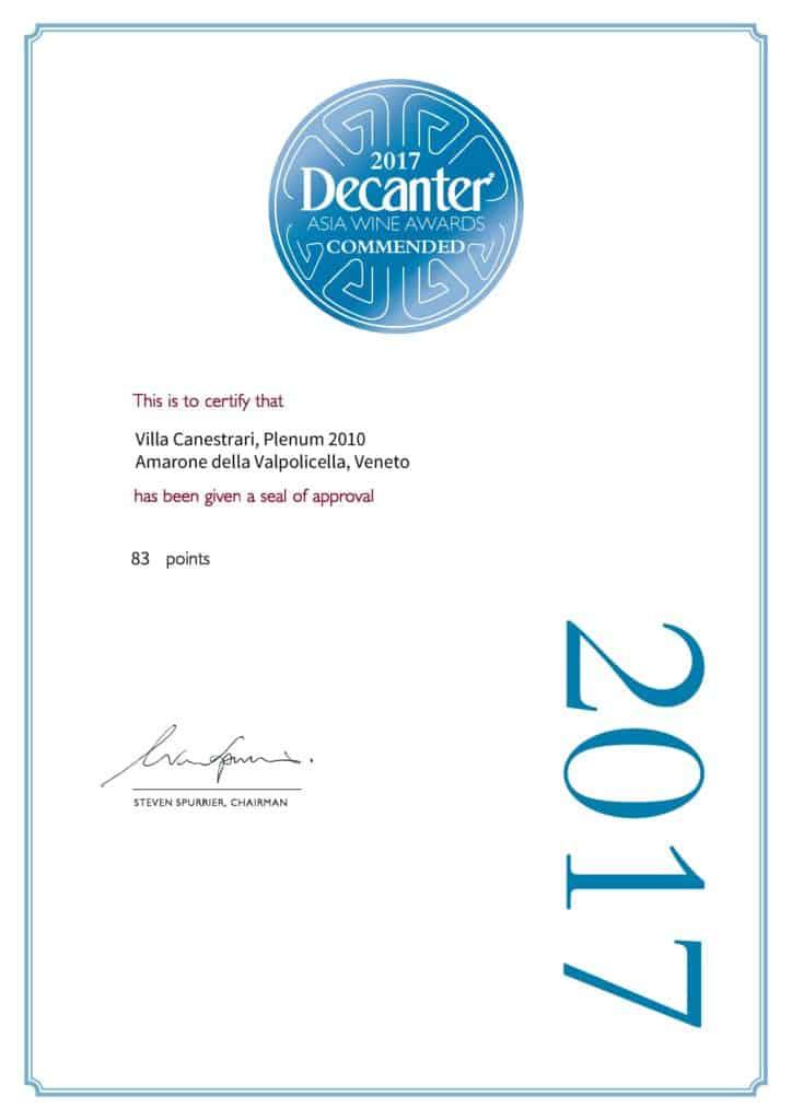 Asia Wine Award 2017 - Villa Canestrari