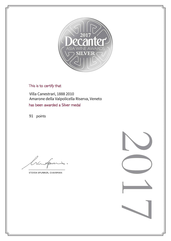 Asia wine awards 2017 medaglia d'argento - Villa Canestrari