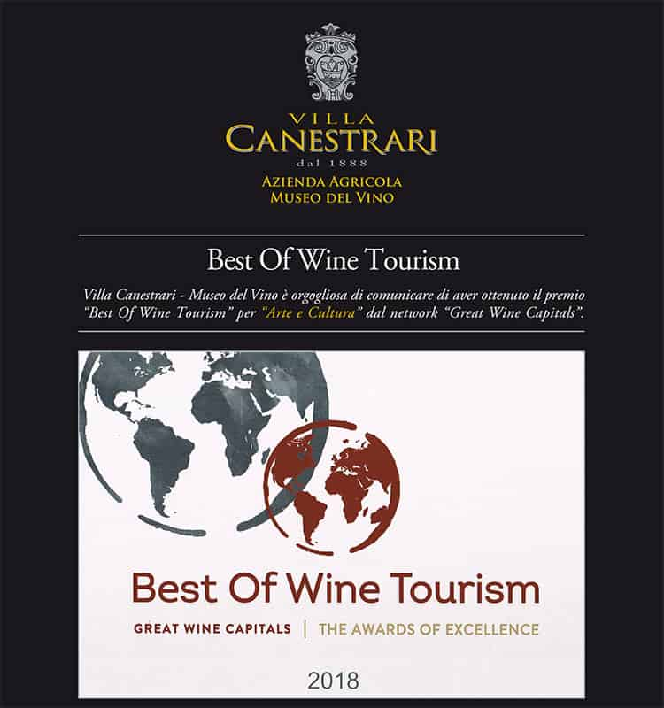 "Best of wine Tourism ""Arte e cultura"" 2018 Villa Canestrari"