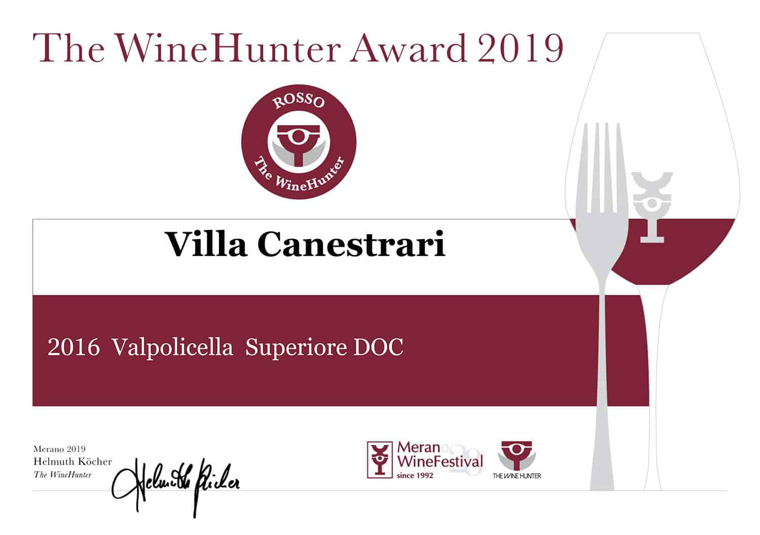 The Wine Hunter award 2019 - Valpolicella 2016