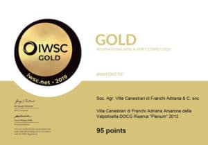 IWSC 2019 gold Amarone Plenum del 2012